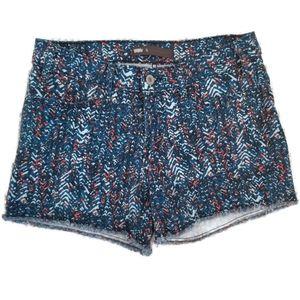 Levis Cutoff Denim Printed Shorts Blue Orange